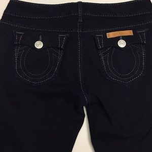 TRUE RELIGION black jeans with grey stitching